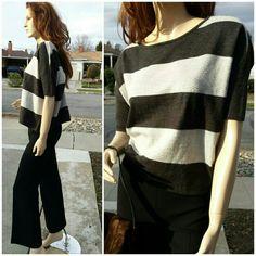 "Boxy Charcoal/Light Gray Sweater Horizontal stripes, Boxy cut. Length 20"", chest 26"" across flat. Super cute. Kenar Sweaters Crew & Scoop Necks"