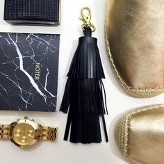 "Black Leather Fringe Tassel Keychain / Bag Charm Details: • Black leather • 14k gold plated clasp • Hand crafted  • 7.5"" L  04011622 Accessories Key & Card Holders"