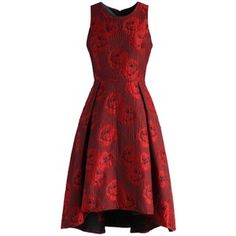 Chicwish Peonies Glam Embossed Jacquard Waterfall Dress in Red
