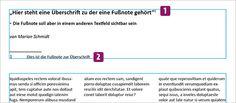 Screenshot – Fussnoten Beispiel, Ausgansproblem Note