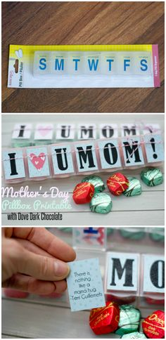 Free printable Mother's Day pillbox with Dove Dark Chocolate
