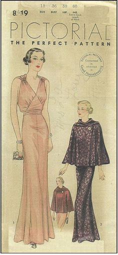 1939 Vintage Sewing Pattern B36 CAPE & EVENING DRESS R958 By