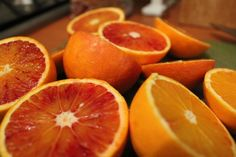 Tarocchi - Sicilian blood oranges. Apparently they have up to 40% more vitamin C than normal oranges.  I have two crates on my balcony and make fresh juice every morning and often cut it up to put in salads with arugula.