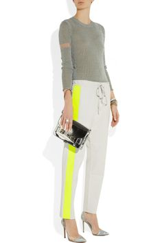 Les Chiffoniers|Neon-trimmed drawstring leather pants|NET-A-PORTER.COM