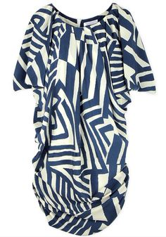 Blue Short Sleeve Asymmetrical Striped Dress -