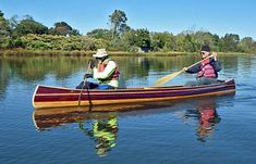 The Mystic River canoe is a traditional wood-strip tandem canoe for day trips and light touring on rivers, ponds and lakes