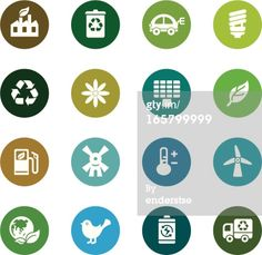 Royalty-free Vector Art: Environmental Protection Color Icons