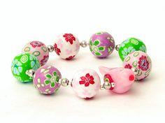 Armbänder -  Armband Vogel Fimo  Polymer Clay Perlen rosa - ein Designerstück von filigran-Design bei DaWanda