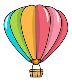 free clip art of a fun rainbow striped hot air balloon sweet clip rh pinterest com hot air balloon clipart black and white hot air balloon clip art free
