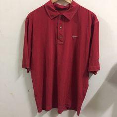 Tiger Woods Collection Dri Fit polo shirt in red stripes size L Performance Golf | eBay