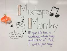 Mixtape Monday whiteboard journal prompt is part of Whiteboard journal prompts - Future Classroom, School Classroom, Classroom Activities, Class Activities, Daily Journal Prompts, Daily Writing Prompts, Essay Prompts, Morning Activities, Bell Work