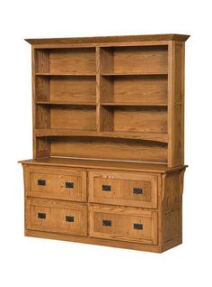 Amish Mission 4 Drawer Lateral File Cabinet and Bookcase Stunning storage for home office or business. Select the wood, finish and hardware to create the look best for your office. Option to add doors to the bookcase and locks on the file drawers. #customfurniture