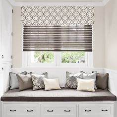 """2"""" Wood Blinds in 13573 Vintage/Ashen with cordless lift, layered with Corner Pleat Valance in 13783 Open Work Embroidery/Steel"""