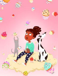 #illustration #littlegirl #pink #cupcake #animal #dog #cat #hedgehog #cloud #dream #sky #blog #lupe #lupegranite