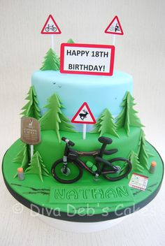 Mountain Bike Cake - Cake by Deborah Roberts - CakesDecor Bycicle Vintage, Bycicle Art Cupcakes, Cake Cookies, Cupcake Cakes, Bicycle Cake, Bike Cakes, Bicycle Party, Mountain Bike Cake, Mountain Biking, Camping Cakes