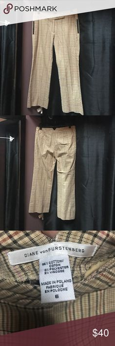Diane Von Furstenberg plaid crop/Capri pants Diane Von Furstenberg plaid crop/Capri pants. Brown, orange, pink plaid with peachy tinted base color. Cute, brown trimmed side pockets, cuffed bottoms, and two real back pockets! No flaws. Like new Diane von Furstenberg Pants Ankle & Cropped