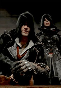 """""""Two Assassins. Two decades old.and those devilish smiles. You must be the Frye twins. Assassins Creed Jacob, Assassins Creed Black Flag, Dragon Age, Skyrim, Arno, Assassin's Creed Brotherhood, All Assassin's Creed, Popular Culture, Avengers"""