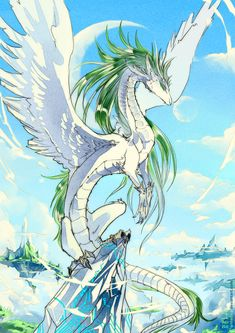 """""""Mirth"""" {White Dragon by *AnHellica on deviantART} Mythical Creatures Art, Mythological Creatures, Magical Creatures, Fantasy Creatures, Wings Of Fire Dragons, Cool Dragons, Dragon Images, Dragon Pictures, Fantasy Kunst"""