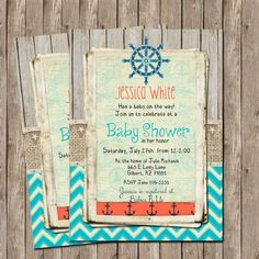**MY FAVORITE SO FAR**Rustic Nautical Baby Shower Invitation Burlap by WallflowerEvents