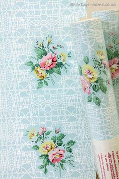 Vintage Home Shop - Pretty 1950s Briar Roses and Lace Wallpaper: www.vintage-home.co.uk