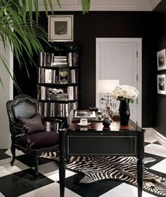 Ralph Lauren black and white office with zebra rug.