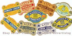 COLLECTION VINTAGE OLD IRISH SODA POP  LABELS from DERRY/ LONDONDERRY 1900s era