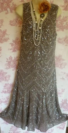 Vintage 20's Flapper 30's deco charleston beaded sequin mink dress 16 per una | eBay