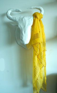 Indian Hand Block Print 100% Silk Chiffon Scarf Wrap Yellow