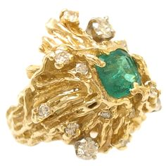 Gold, Emerald and Diamond Ring by Nathan Cabo $3200