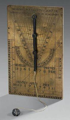 CADRAN SOLAIRE UNIVERSEL RECTILIGNE France, vers 1700 Laiton recyclé 61