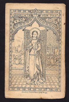 St. Godelieve Antique Holy Card. Very Rare and Old holy card. Patron Saint of abused women.. $18.00, via Etsy.