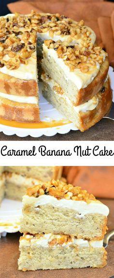 Caramel Banana Nut Cake | from willcookforsmiles.com #sweet #cake #dessert