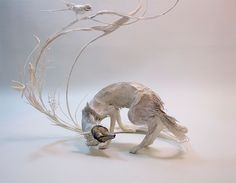 """Natural history surrealist sculpture """" this is how artist Ellen Jewett describes her sculptures. It's a blend of plants, animals and sometimes human-made structures or objects Art Sculpture, Animal Sculptures, Clay Sculptures, Ellen Jewett, Flora Und Fauna, 3d Fantasy, Arte Popular, Creature Concept, Mythical Creatures"""