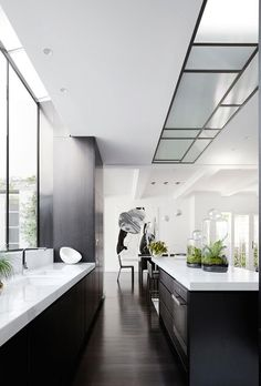 Modern Kitchen Interior Remodeling Black and white kitchen. Neutral Kitchen Designs, Modern Kitchen Design, Interior Design Kitchen, Black Interior Design, Black And White Interior, White House Interior, Interior Ideas, Interior Decorating, Modern Kitchen Interiors