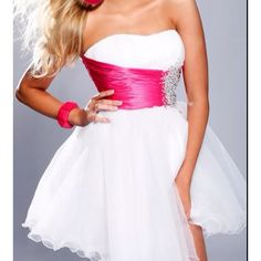 Pink and white short homecoming dress