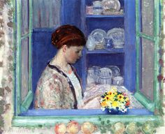 lawrenceleemagnuson:  Frederick Carl Frieseke (USA 1874-1939)Sadie in the Window (1911)oil on canvas 64.77 x: 80.65 cm