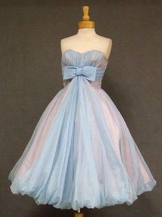 Vintage blue chiffon balloon prom dress 1950s #Repin