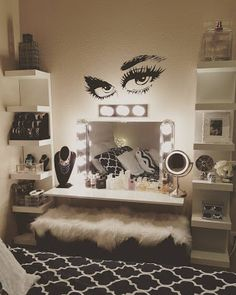 Glam makeup room ideas beauty room ideas makeup room ideas glam bedroom wall decor best on teen bed full size home decorations ideas for christmas Sala Glam, Girls Bedroom, Bedroom Decor, Wall Decor, Bedroom Ideas, Bedrooms, Wall Art, Bedroom Wall, Comfy Bedroom