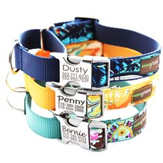 Engraved Buckle Martingale Dog Collar - 15 Classic Cotton styles to choose from by shopmimigreen on Etsy https://www.etsy.com/listing/122957373/engraved-buckle-martingale-dog-collar-15