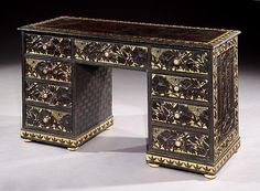 Rose Uniacke - Shop - An Aesthetic Movement Kneehole Desk Covered in Lincrusta Walton panelling