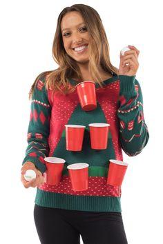 Women's Beer Pong Christmas Sweater | Tipsy Elves