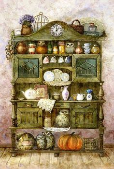 Buffet with Owls Counted cross stitch pattern in by Maxispatterns