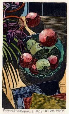 Original Linocut Apples Fruit Still Life Woodcut Watercolor Mini Print DelPesco