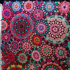 Bright Quilts, Colorful Quilts, Crumb Quilt, Patchwork Designs, Quilting Designs, Millefiori Quilts, Kaleidoscope Quilt, Hexagon Quilt, Landscape Quilts