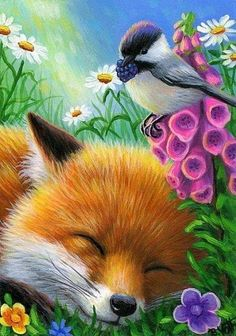 Details about ACEO Original painting foxy fox flowers animals fine art card artwork Originals ACEO o Illustrations, Illustration Art, Animal Pictures, Cute Pictures, Animals Beautiful, Cute Animals, Fox Drawing, Fox Painting, Fox Art
