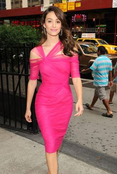 Fabulously Spotted- Emmy Rossum Wearing Monique Lhuillier on Her Way to a Project Runway Taping.2