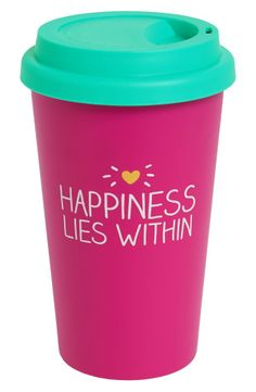 'Happiness Lies Within' Travel Mug :: oh yes it does... Coffee!