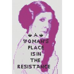 Inspired by protest signs from the Women's March on Washington, this pattern channels our interstellar princess and her strength. Finished Size: 71 st x 105 st x on 18 ct aida) * Colours: 6 Number of pages: 6 Cross Stitch Embroidery, Cross Stitch Patterns, Protest Signs, Atypical, Geek Stuff, Project Ideas, Craft Ideas, Projects, Sayings
