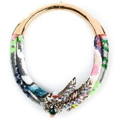 Shourouk Double Aigrette Necklace ($1,375) ❤ liked on Polyvore featuring jewelry, necklaces, multicolour, multi colored jewelry, multi color jewelry, sequin jewelry, colorful jewelry and flower jewelry