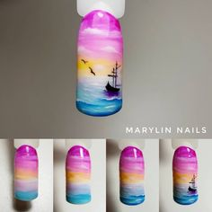 Boat at sunset nails Cute Nails, Pretty Nails, Sunset Nails, Sea Nails, Halloween Nail Art, Nail Art Hacks, Cute Nail Designs, Beautiful Nail Art, Nail Tutorials